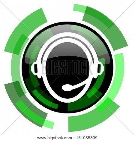 customer service icon, green modern design glossy round button, web and mobile app design illustration