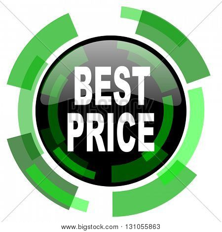 best price icon, green modern design glossy round button, web and mobile app design illustration