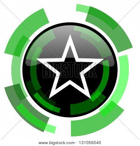 star icon, green modern design glossy round button, web and mobile app design illustration