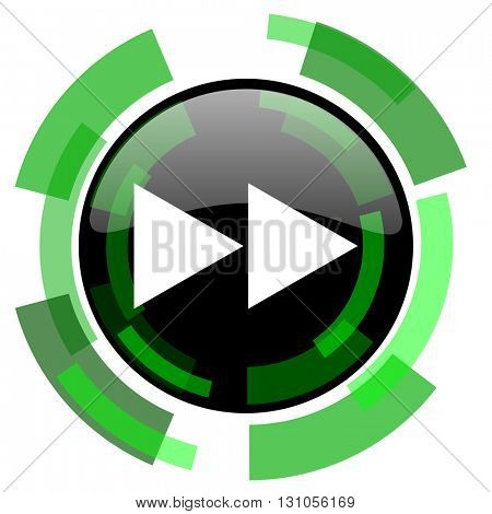 rewind icon, green modern design glossy round button, web and mobile app design illustration