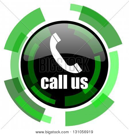 call us icon, green modern design glossy round button, web and mobile app design illustration