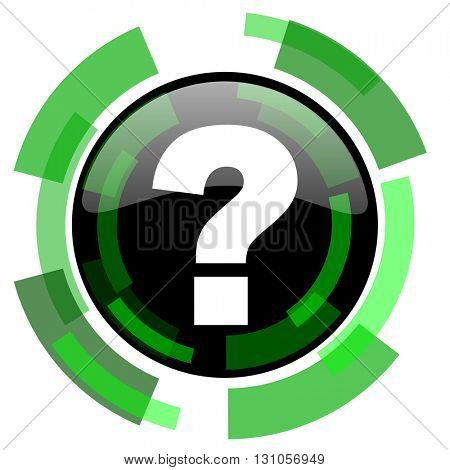 question mark icon, green modern design glossy round button, web and mobile app design illustration