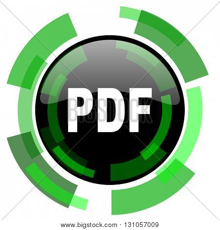 pdf icon, green modern design glossy round button, web and mobile app design illustration