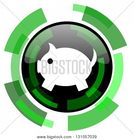 piggy bank icon, green modern design glossy round button, web and mobile app design illustration