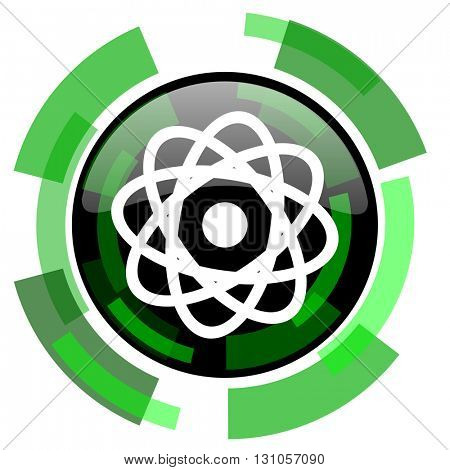 atom icon, green modern design glossy round button, web and mobile app design illustration