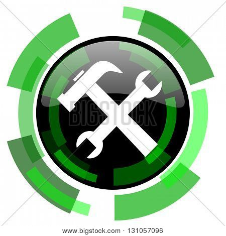 tool icon, green modern design glossy round button, web and mobile app design illustration