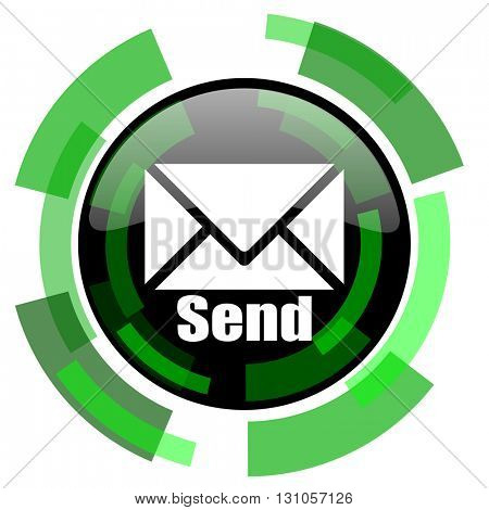 send icon, green modern design glossy round button, web and mobile app design illustration