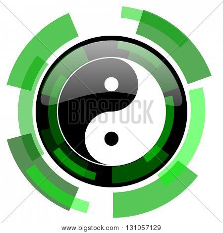 ying yang icon, green modern design glossy round button, web and mobile app design illustration