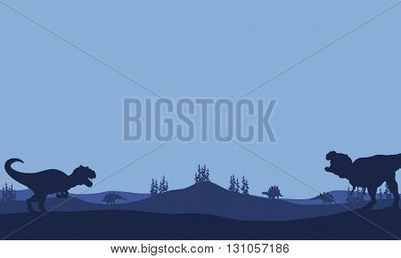 Silhouette of Tyranosaurus and allosaurus with blue backgrounds