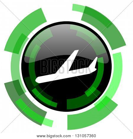 arrivals icon, green modern design glossy round button, web and mobile app design illustration