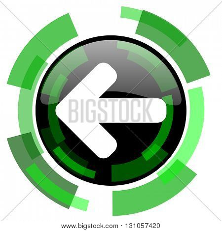 left arrow icon, green modern design glossy round button, web and mobile app design illustration