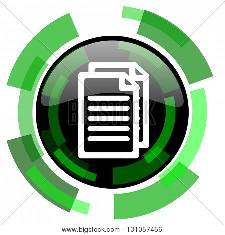 document icon, green modern design glossy round button, web and mobile app design illustration
