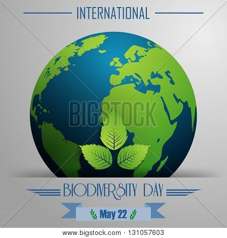 Vector illustration of Biodiversity international day background with globe and leaves