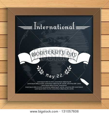 Vector illustration of Biodiversity international day with Earth and white ribbon on blackboard