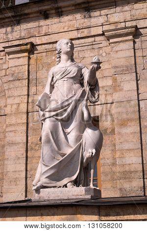 Gatchina Palace. Sculpture at the front door. Allegory - vigilance. The sculptor Johann Morleyter.