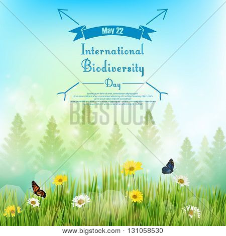 Vector illustration of Biodiversity background with palm tree and flowers in grass on blue sky background