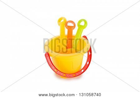 Children sand toys isolated on white