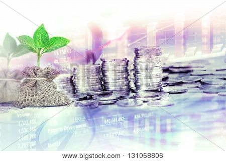 Coins stacked for business financial and stock investment concept background