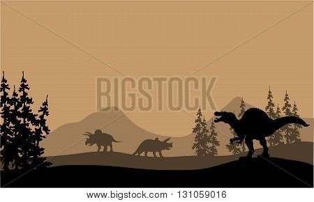 Silhouette of spinosaurus and Triceratops in the hills