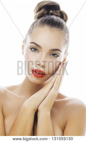 young stylish woman with fashion make up and hairstyle isolated on white posing red lipstick elegant spa, casual girl