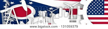 Energy and Power icons set. Header banner with Ohio and USA flags. Sustainable energy generation and heavy industry. 3D rendering