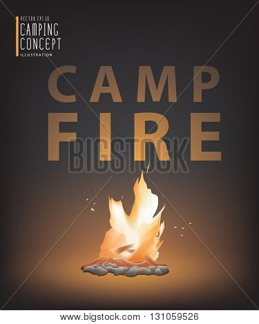 Illustration vector beautiful campfire in the dark.