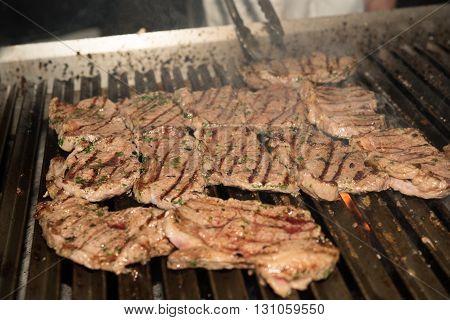 hot Grilling fresh Steak in a restaurant