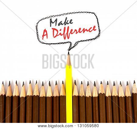 the yellow wooden pencil arrange with make a difference concept