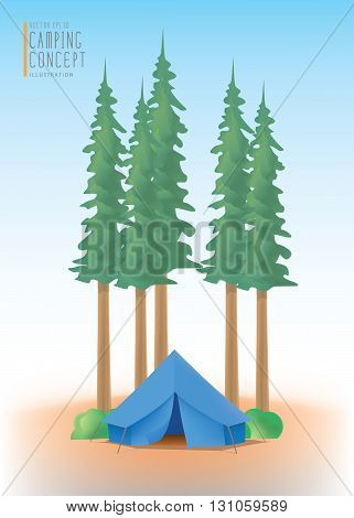 Illustration vector blue camp tent the among nature of trees and forests.