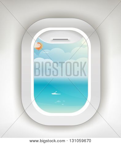 Aircraft window. Summer season vacation illustration. Vacation vector concept