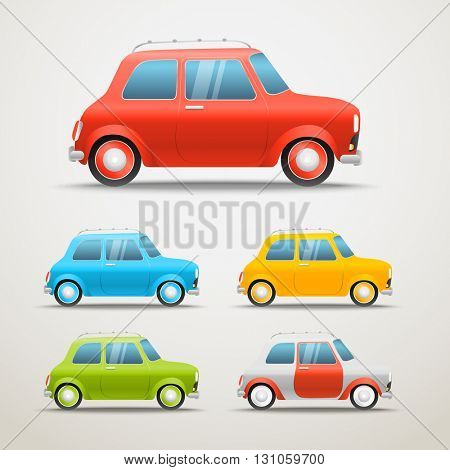 Different color retro cars set. Vintage vehicle illustration. Old car collection