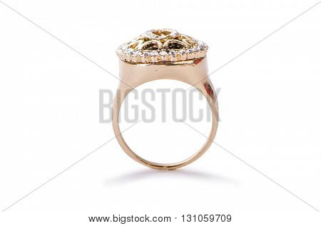 Golden ring isolated on white background