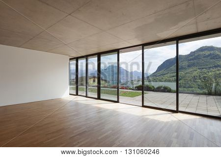 Architecture, room of modern building, windows overlooking the terrace