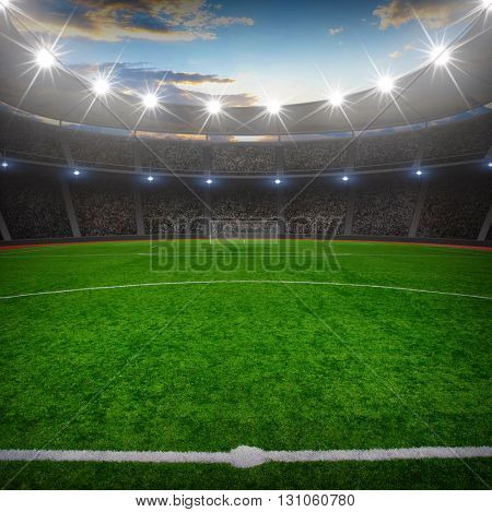 the soccer stadium with the bright lights