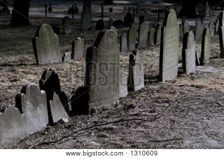 Dramatically Lit Tombstones In Boston