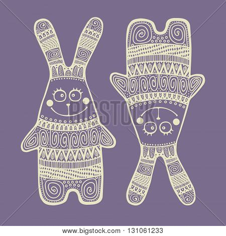 Cute rabbit. Vector hand drawn bunny with tribal doodle ornament. Fun rabbit for kids design.