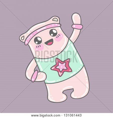 Cute bear. Vector kawaii doodle bear doing sport exercises. Hand drawn, isolated.