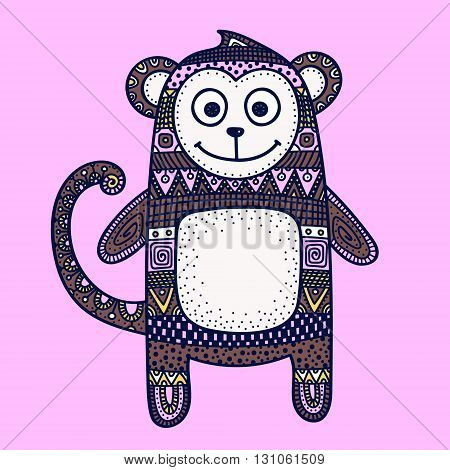 Vector hand drawn doodle monkey. Figure with doodle ornament. Ethnic tribal monkey. Cute design for children. Pink yellow brown and white colors.