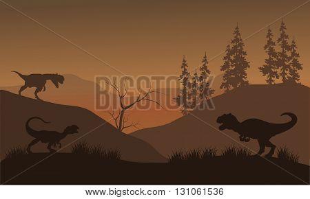 Dinosaur Dilophosaurus of silhouette at the morning