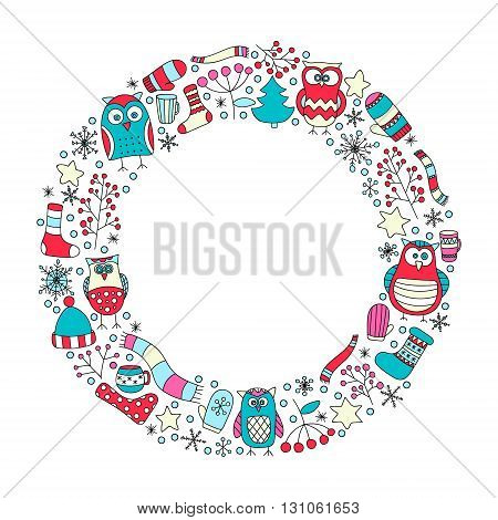 Winter round frame. Vector hand drawn doodle xmas elements. Star snowflake berry mittens teacups scarf hat socks.