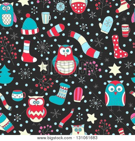 Christmas seamless pattern. Vector hand drawn winter elements. Fun doodle background for kids. Snowflake owl christmas tree mittens socks. On black background.