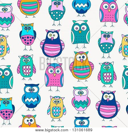 Seamless pattern with hand drawn doodle owls. Cute background for kids. Vector pattern. Bright colors - yellow orange pink blue green.