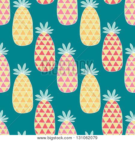 Cute pineapples. Seamless summer pattern with doodle pineapples. Hand drawn.