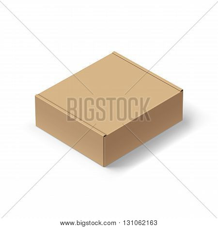 Close up Carton Box with the Realistic Shadow on White background