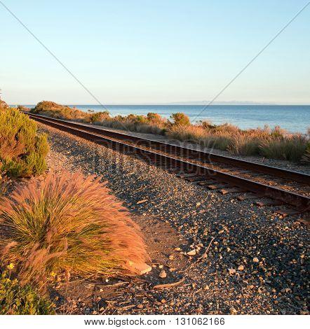 Railroad tracks on the Central Coast of California at Santa Barbara at sunset