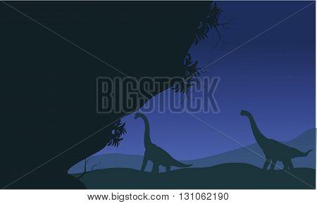 At night silhouette of brachiosaurus scenery beautiful