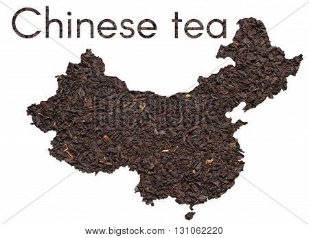 Chinese map shape made of black tea leaves collage