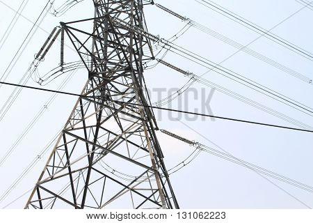 Close - up high voltage pole danger zone.