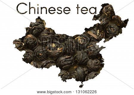 Chinese map shape made of black tea leaf balls collage