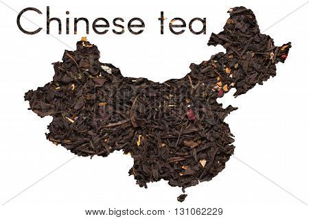 Chinese map shape made of black tea leaves with flowers and fruits collage